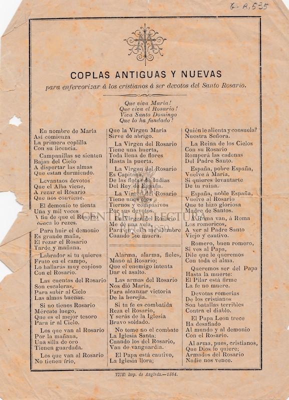 Coplas antiguas y nuevas para enfervorizar á los cristianos á ser devotos del Santo Rosario