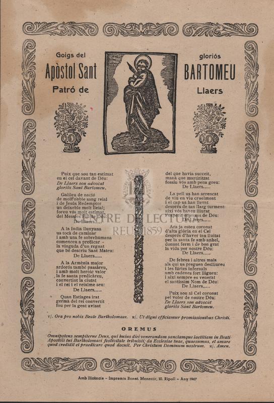 Goigs del gloriós Apòstol Sant Bartomeu patró de Llaers