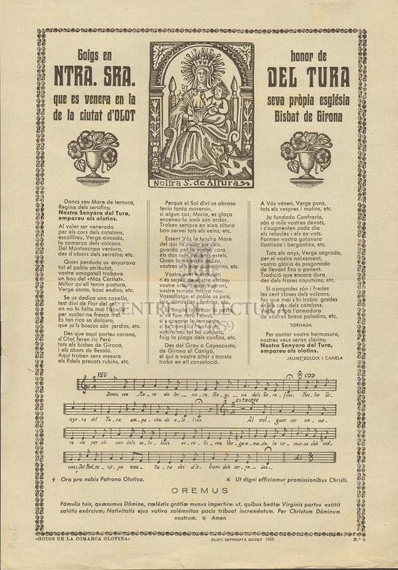 Goigs en honor de Ntra. Sra. del Tura que es venera en la seva pròpia església de la ciutat d'Olot Bisbat de Girona