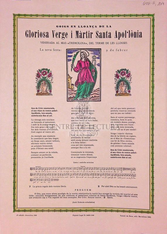 """Goigs en lloança de la Gloriosa Verge i Màrtir Santa Apol·lònia venerada al Mas """"Tremolosa"""", del terme de les Llosses. La seva festa: 9 de febrer"""
