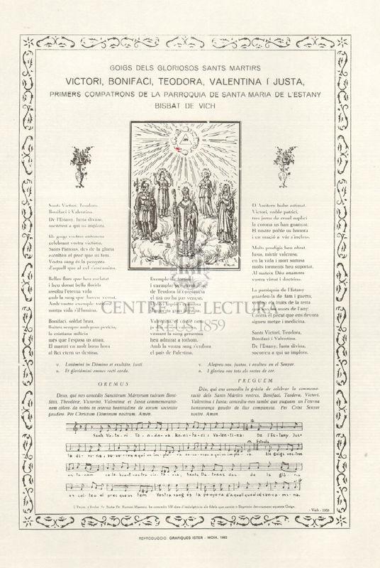 Goigs dels gloriosos sants martirs Victori, Bonifaci, Teodora, Valentina i Justa, primers compatrons de la parroquia de Santa Maria de l'Estany Bisbat de Vich