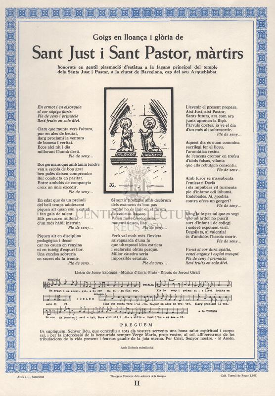 La Cripta de les Llànties. Aplec de Goigs tot lloant nou devocions inèdites.