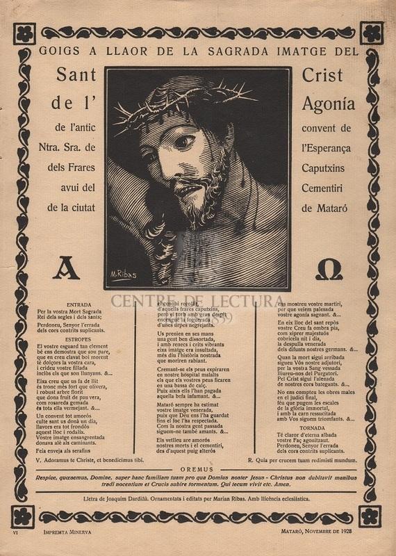 Goigs a llaor de la Sagrada Imatge del Sant Crsit de l'Agonía de l'antic convent de Ntra. Sra. de l'Esperança dels Frares Caputxins avui del Cementiri de la ciutat de Mataró