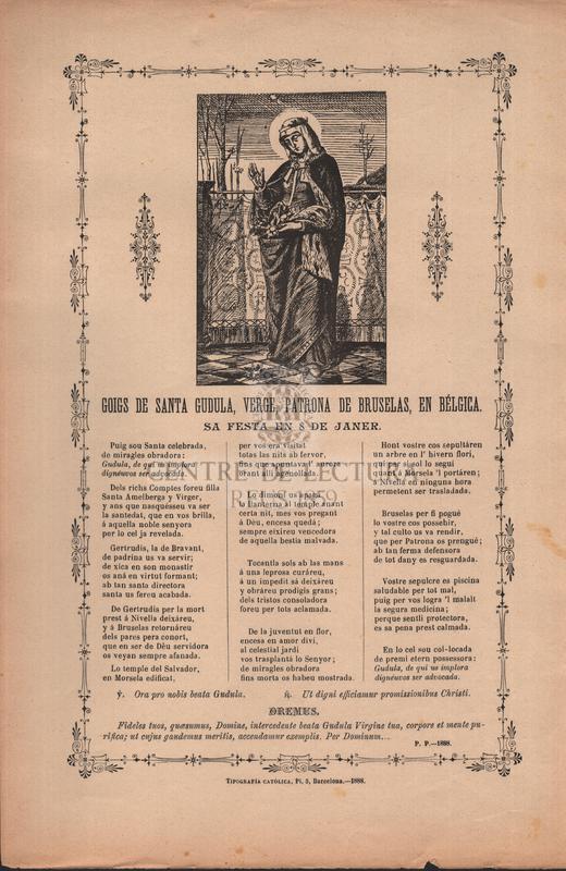 Goigs de santa Gudula, verge, patrona de Bruselas, en Bélgica, Sa festa en 8 de janer