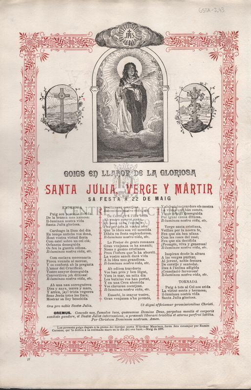 Goigs en llahor de la gloriosa Santa Júlia, verge y mártir. Sa festa á 22 de maig.