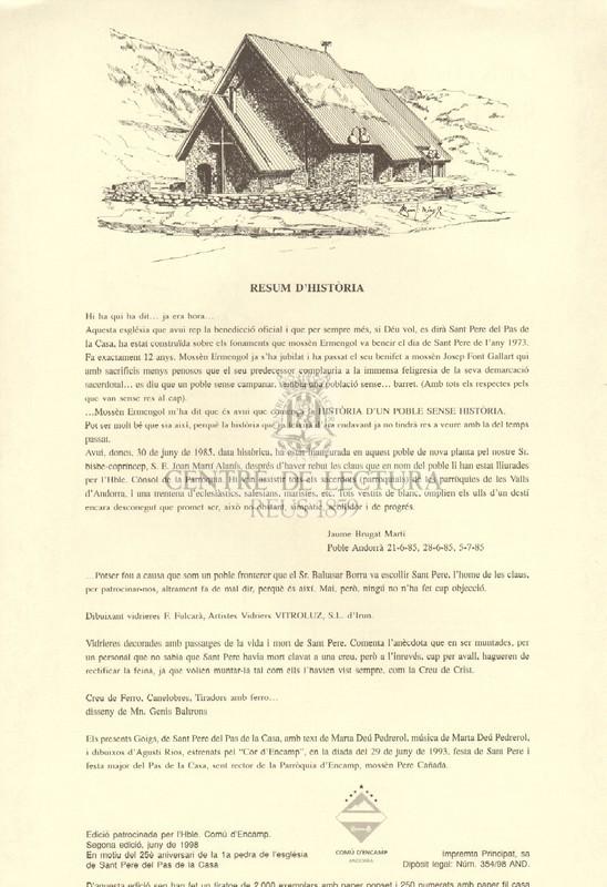 Goigs a llaor de Sant Pere Apòstol, patró del Pas de la Casa, Parròquia d'Encamp (Principat d'Andorra)