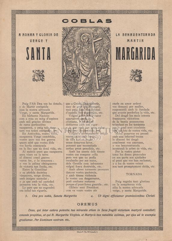 Coblas a honra y gloria de la benaventurada verge y martir santa Margarida