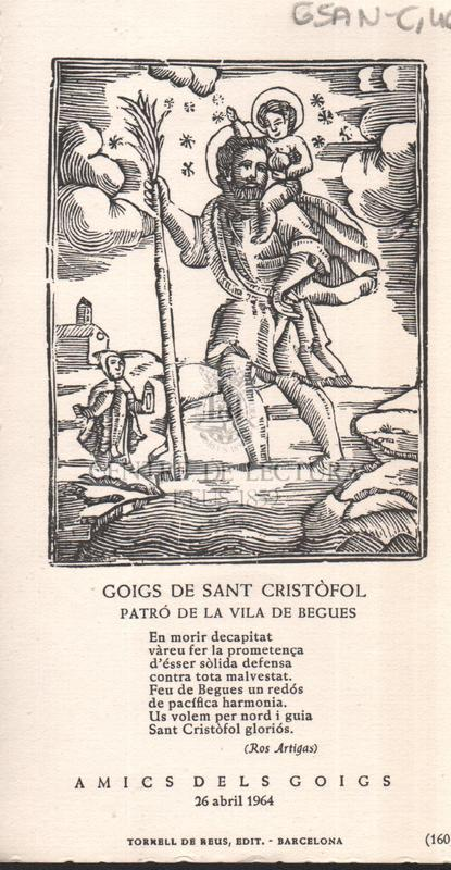 Goigs de Sant Cristófol patró de la vila de Begues