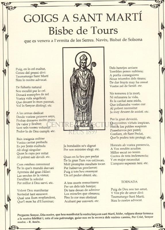 Goigs a Sant Martí, bisbe de Tours, que es venera a l'ermita de les Serres. Navès, Bisbat de Solsona