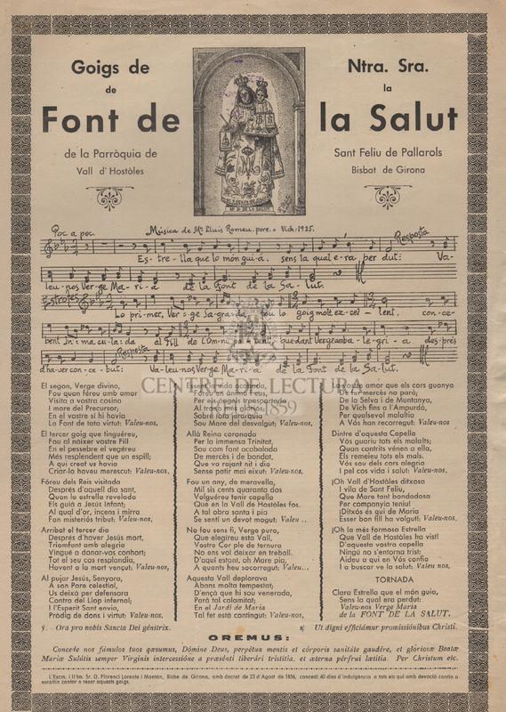 Goigs de Ntra. Sra. de la Font de la Salut, de la Parròquia de Sant Feliu de Pallarols, Vall d'Hostòles, Bisbat de Girona