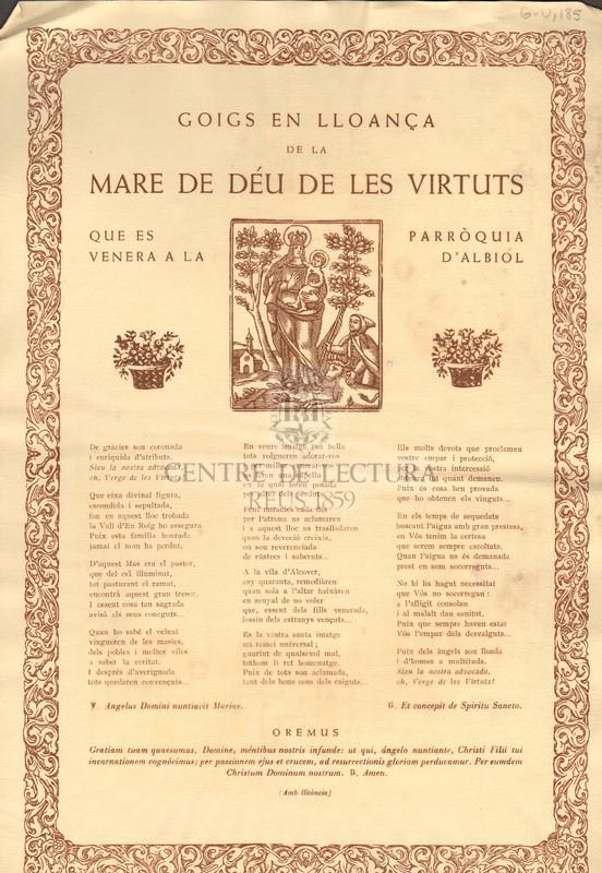 Goigs en lloança de la Mare de Déu de les Virtuts qu es venera a la Parròquia d'Albiol