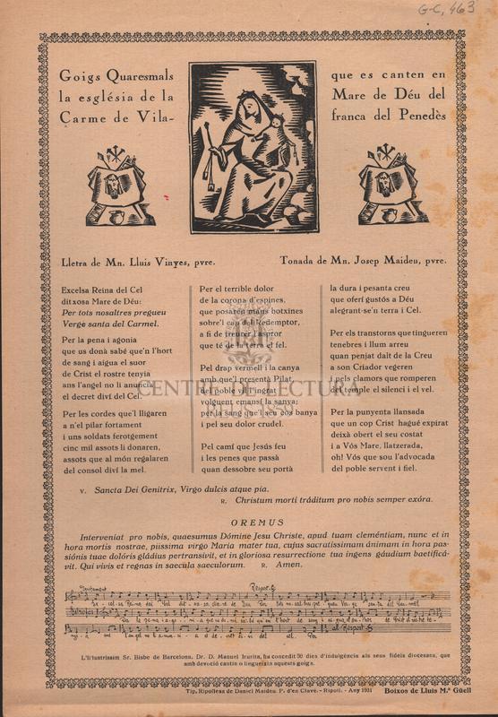 Goigs Quaresmals que es canten en la església de la Mare de Déu del Carme de Vilafranca del Penedès.