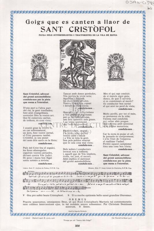Gogis que es canten a llaor de Sant Cristòfol patró dels automobilistes i tractoristes de la vila de Batea