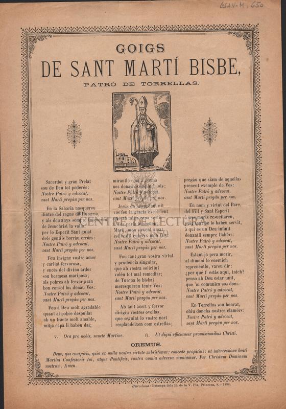 Goigs de Sant Martí Bisbe, patró de Torrellas
