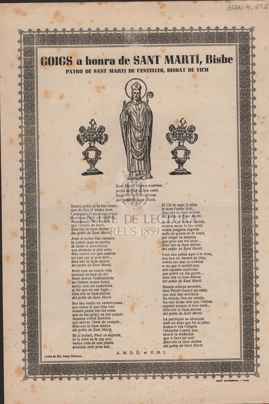 Goigs en honra de Sant Martí, Bisbe. Patro de Sant Marti de Centelles, Bisbat de Vich