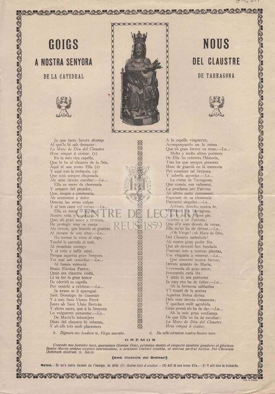 Goigs nous a Nostra Senyora del Claustre de la catedral de Tarragona.