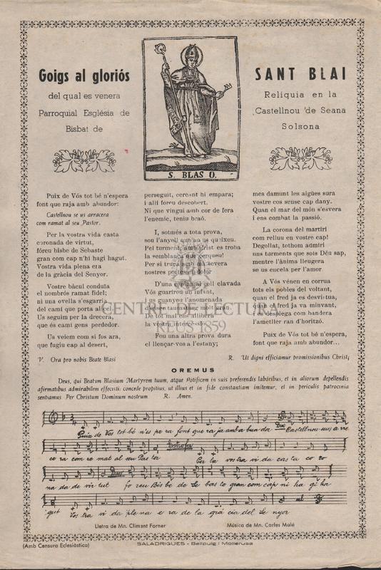 Goigs al gloriós Sant Blai del qual es venera Reliquia en la Parroquial Església de Castellnou 'de Seana Bisbat de Solsona