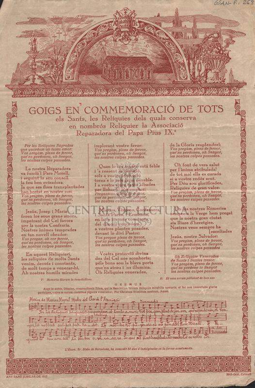 Goigs en commemoració de tots els Sants, les Relíquies dels quals conserva en nombrós Reliquier la Associació Reparadora del Papa Pius IXè