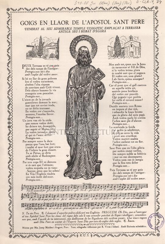 Goigs en llaor de l'Apostol Sant Pere venerat al seu admirable temple visigotic emplaçat a Terrassa antiga seu i bisbat d'Egara.