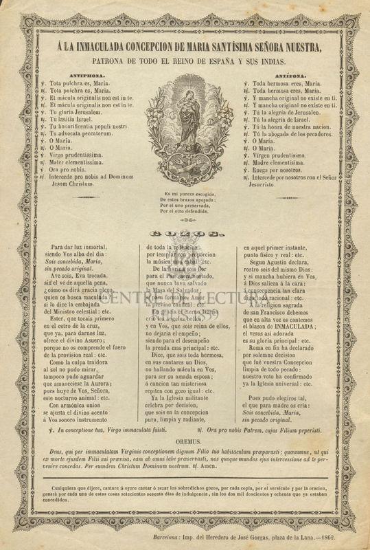 A la Inmaculada Concepción de María Santísima señora nuestra patrona de todo el Reino de España y sus Indias
