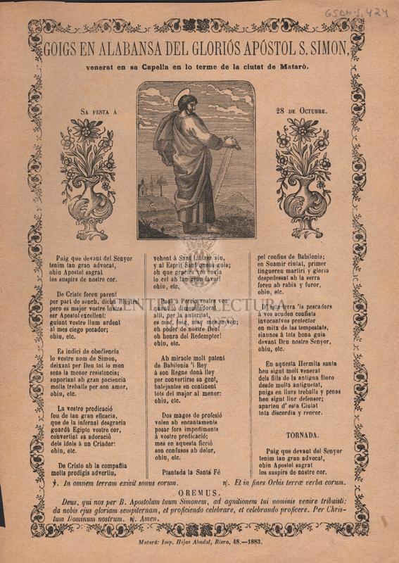 Goigs en alabansa del gloriós apóstol S. Simon, venerat en sa Capella en lo terme de la ciutat de Mataró