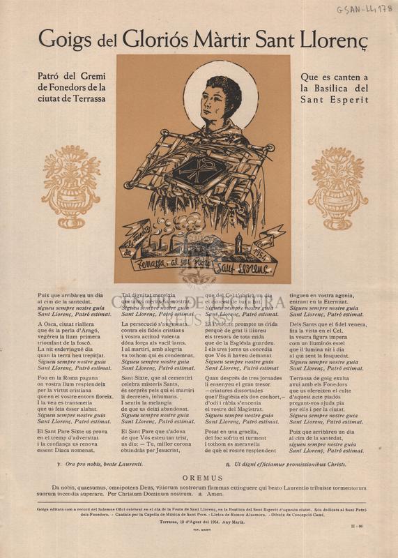 Goigs del Gloriós Màrtir Sant Llorenç, Patró del Gremi de Fonedors de la ciutat de Terrassa, Que es canten a la Basílica del Sant Esperit