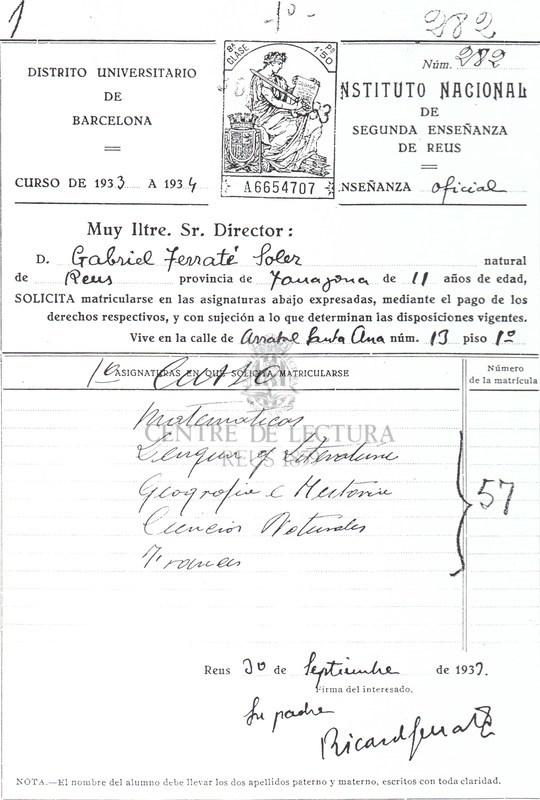 Sol·licitud d'inscripció de Gabriel Ferrater a l'Instituto Nacional de  Segunda Enseñanza de Reus