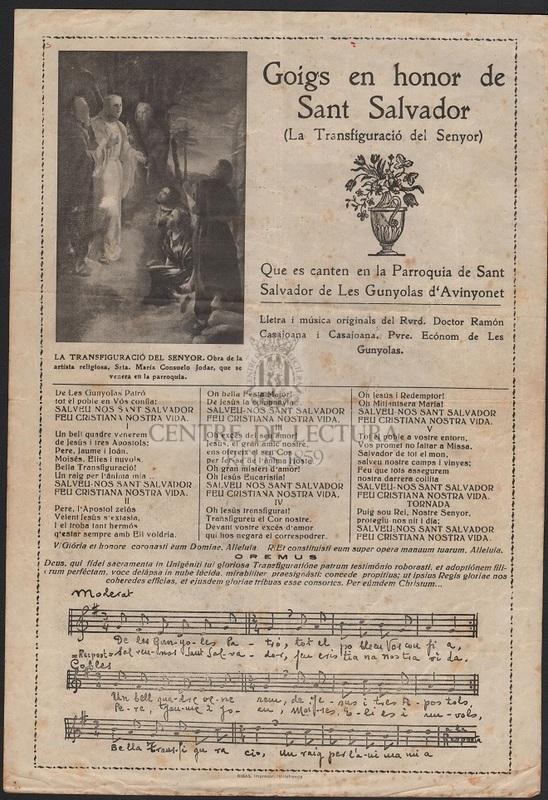 Goigs en honor de Sant Salvador (La Trasfiguració del Senyor) que es canten en la Parroquia de Sant Salvador de Les Gunyolas d'Avinyonet