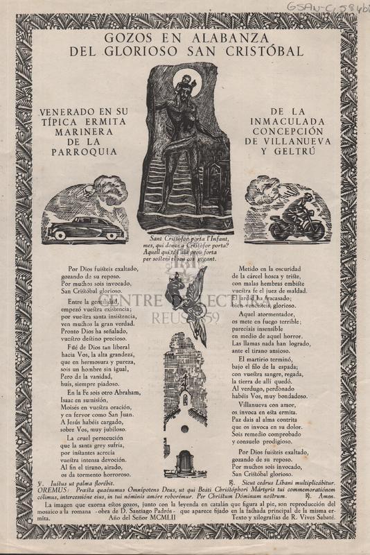 Gozos en alabanza del glorioso san Cristóbal venerado en su típica ermita marinera de la parroquia de la Inmaculada Concepción de Villanueva y Geltrú