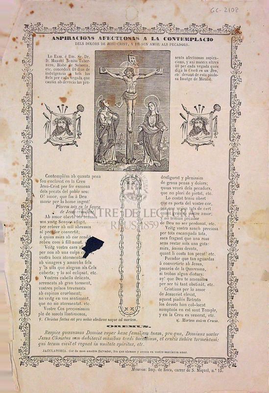 Aspiracios afectuosas a la contemplacio dels Dolors de Jesu-Crist, y de son amor als pecadors