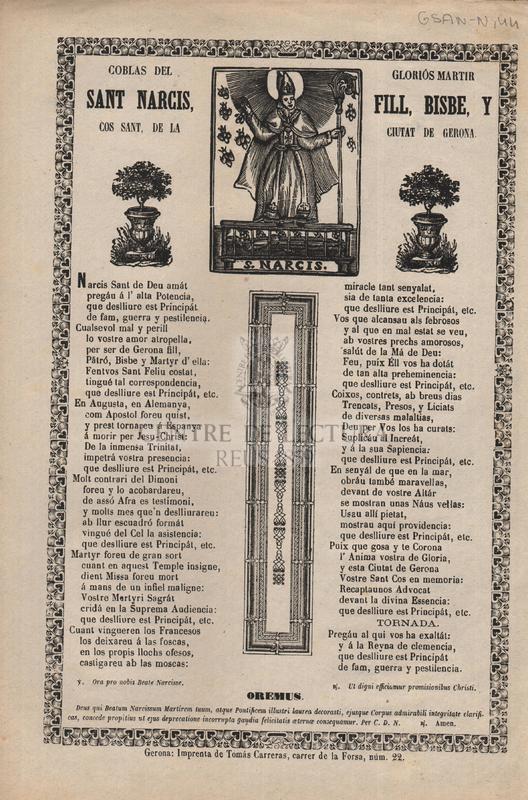 Coblas del gloriós martir Sant Narcís, fill, bisbe, y cos sant, de la ciutat de Gerona
