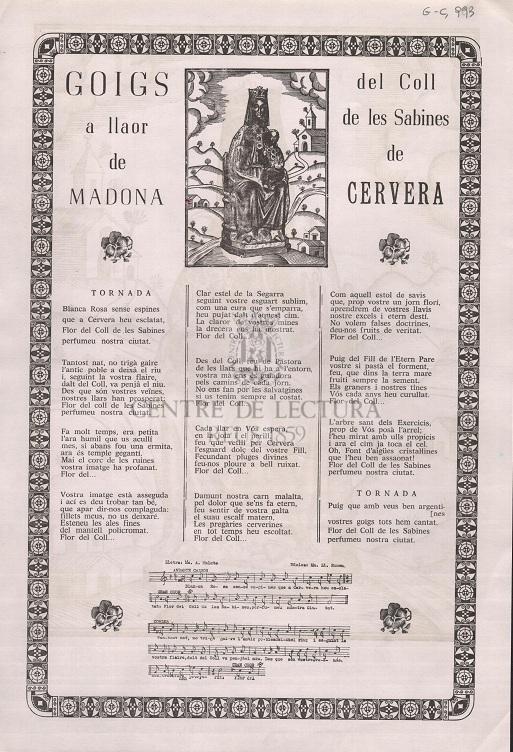 Goigs a llaor de Madona del Coll de les Sabines de Cervera