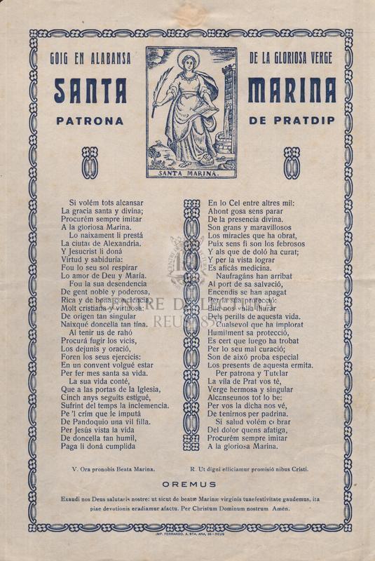 Goig en alabansa de la gloriosa verge Santa Marina, patrona de Pratdip