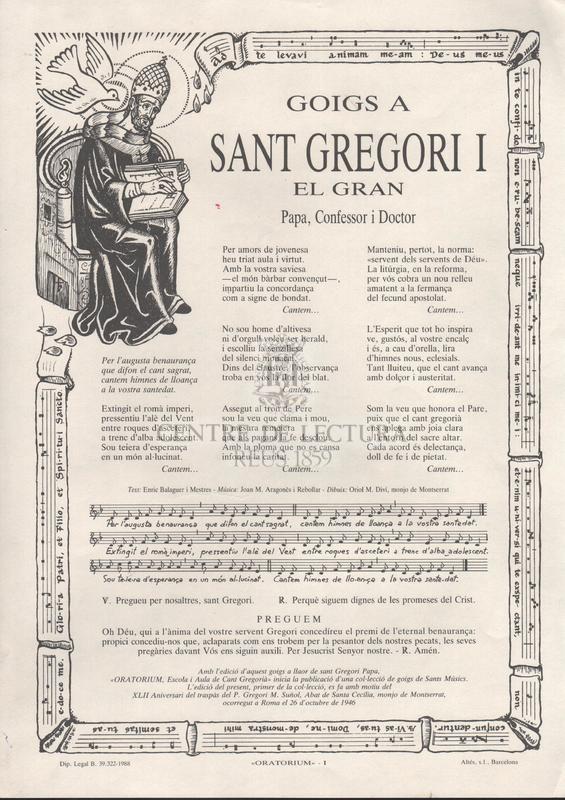 Goigs a Sant Gregori I El Gran. Papa, Confessor i Doctor