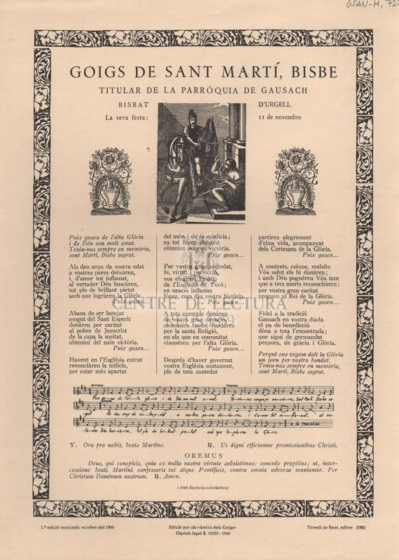 Goigs de Sant Martí, Bisbe. Titular de la Parròquia de Gausach. Bisbat d'Urgell. La seva festa: 11 de novembre