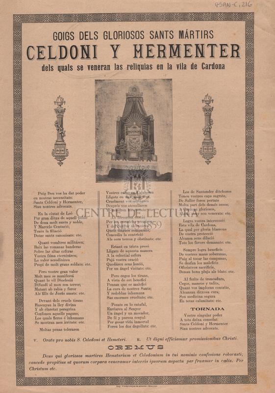 Goigs dels gloriosos sants mártirs Celdoni i Hermenter dels quals se veneran las reliquias en la vila de Cardona