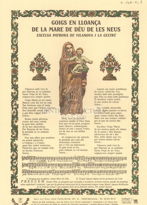 Goigs en lloança de la Mare de Déu de les Neus, excelsa patrona de Vilanova i la Geltrú