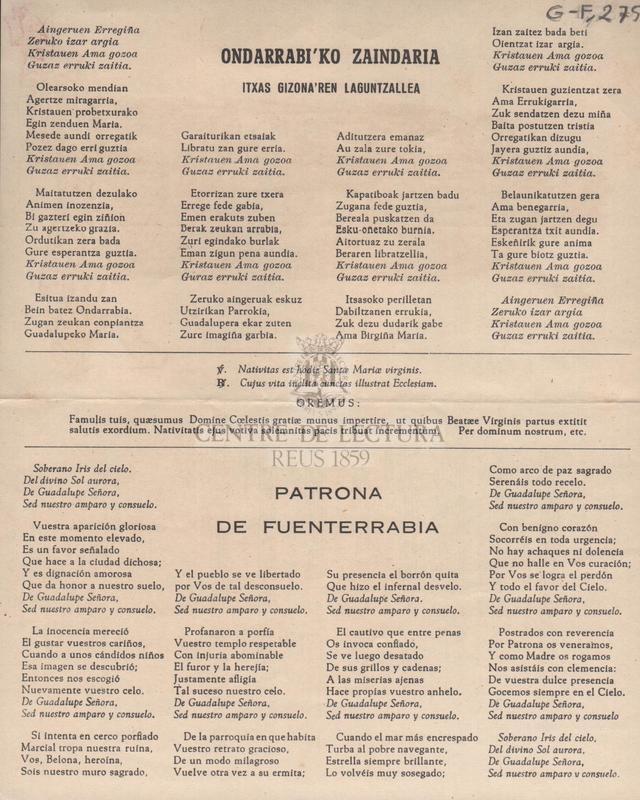 Ondarrabi'ko Zaindaria itxas Gizona'ren Laguntzallea / Patrona de Fuenterrabia