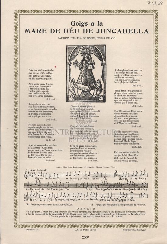 Goigs a la Mare de Déu de la Juncadella Patrona d'El Pla de Bages, Bisbat de Vic.