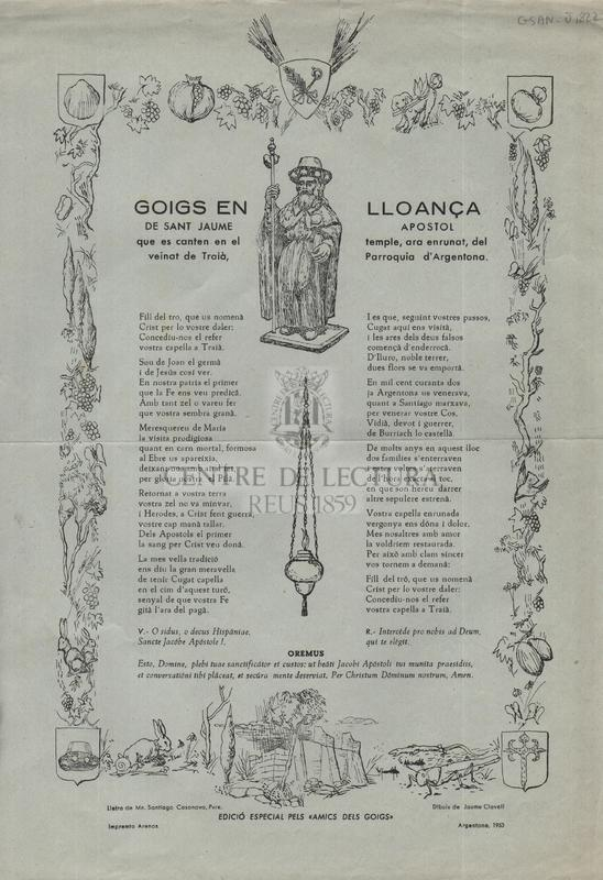 Goigs en lloança de sant Jaume apostol que es canten en el temple, ara enrunat, del veinat de Taià, Parroquia d'Argentona