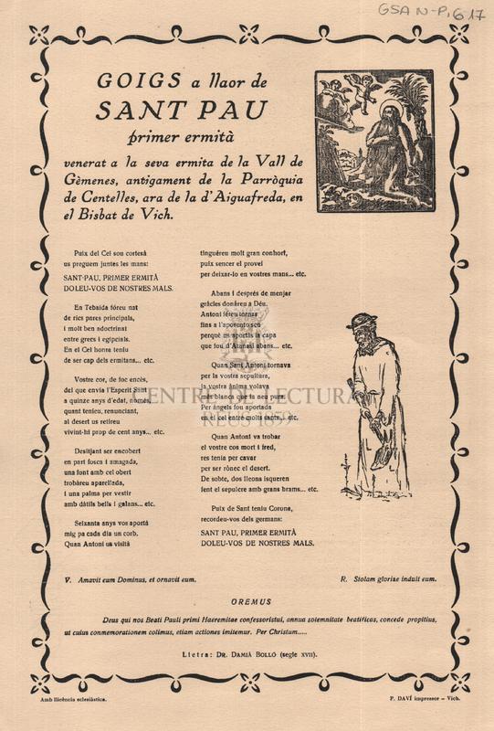 Goigs a llaor de Sant Pau primer ermità venerat a la seva ermita de la Vall de Gèmenes, antigament de la Parròquia de Centelles, ara de la d'Aiguafreda, en el Bisbat de Vich