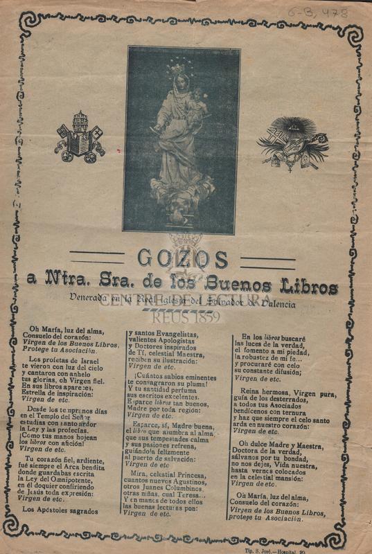 Gozos a Ntra. Sra. de los Buenos Libros venerada en la Real Iglesia del Salvador de Valencia