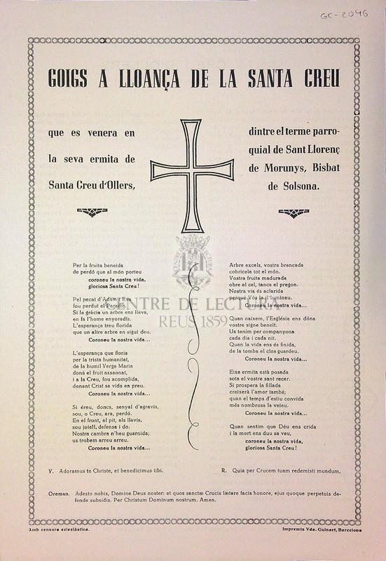 Goigs a lloança de la Santa Creu que es venera en la seva ermita de Santa Creu d'Ollers, dintre el terme parroquial de Sant Llorenç de Morunys, Bisbat de Solsona