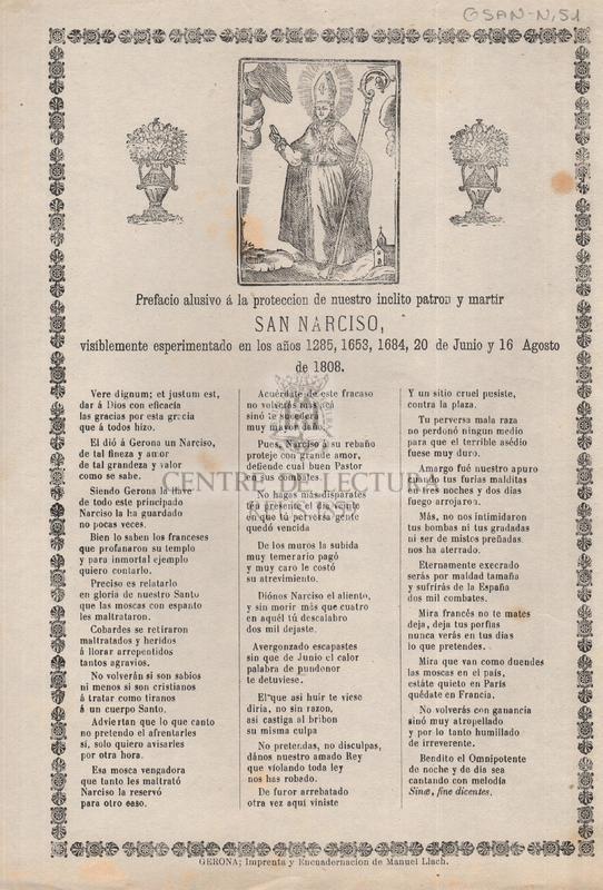 Prefacio alusivo á la proteccion de nuestro inclito patron y martir San Narciso, visiblemente esperimentado en los años 1285, 1653, 1684, 20 de junio y 16 Agosto de 1808
