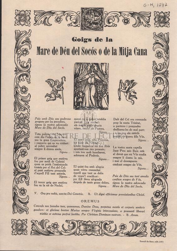 Goigs de la Mare de Déu del Socós o de la Mitja Cana.
