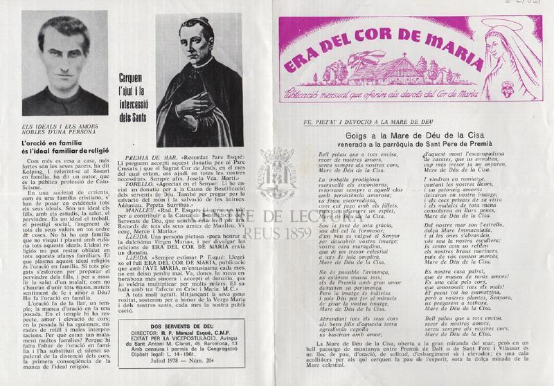 Goigs a la Mare de Déu de la Cisa venerada a la parròquia de Sant Pere de Premià