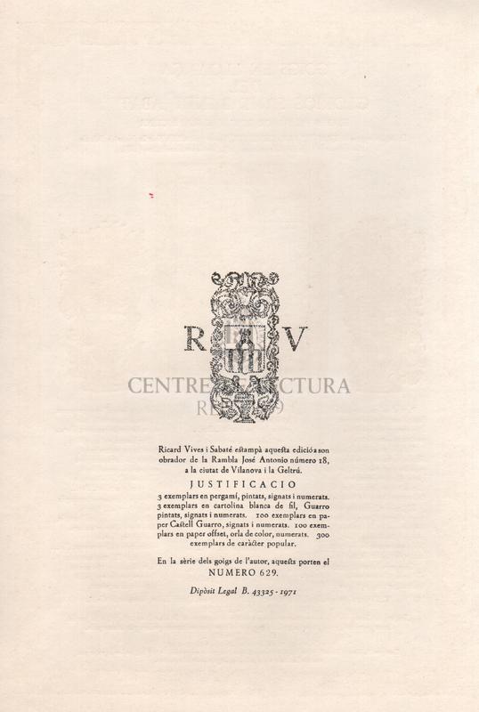 Goigs en lloança del gloriós Sant Benet Abat, excels fundador de l'ordre Benedictina. Exemplar segon del Tríptic Montserratí, format pels Goigs de la Mare de Déu de Montserrat (I), de Sant Benet abat (II), i de Santa Escolàstica (III)