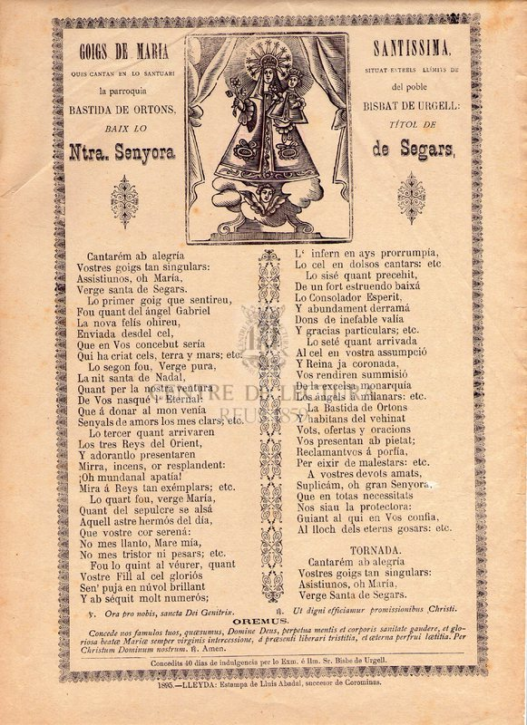 Goigs de Maria Santissima ques cantan en lo Santuari situat entrels límits de la parroquia del poble Bastida de Ortons, Bisbat de Urgell: baix lo títol de Ntra. Senyora de Segars