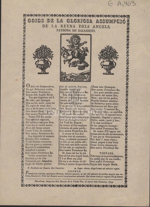 Goigs de la gloriosa assumpció de la reyna dels angels, patrona de Balsareny