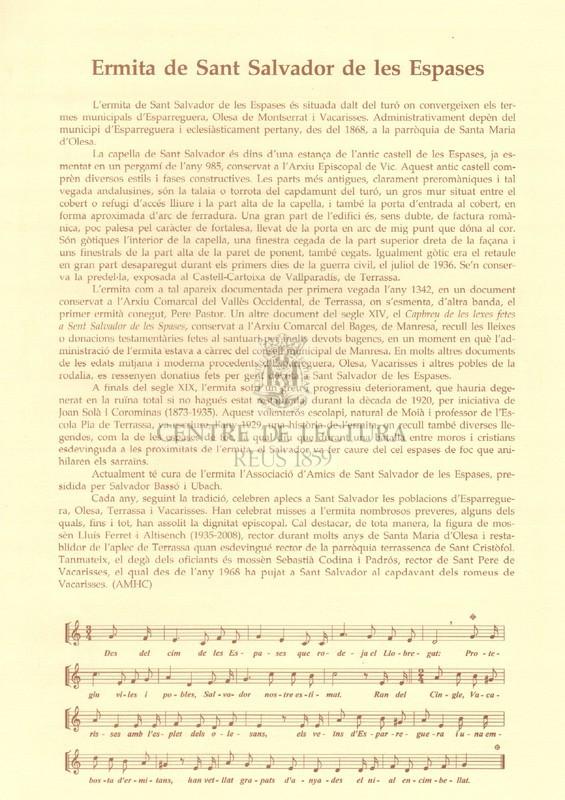 Goigs a llaor de Sant Salvador de les espases que es venera a la capella de l'antic castell de les Espases a l'encaix dels termes d'Esparreguera Olesa de Montserrat i Vacarisses